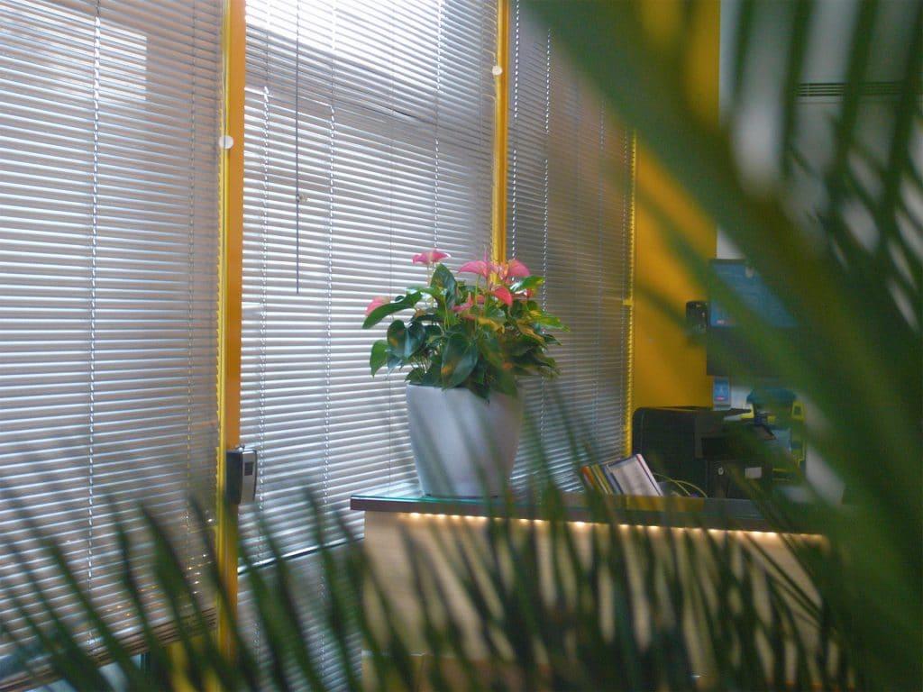 bouquet fleurie sur banque d'accueil d'entreprise