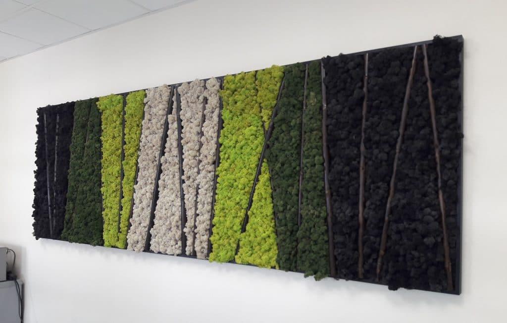 mur végétal mousse liquen verte clair et vert foncé