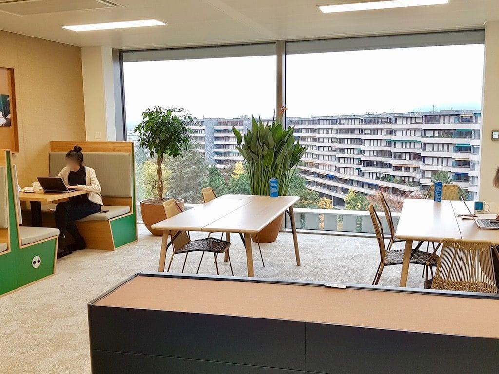 bureau design et plantes vertes dans un open space