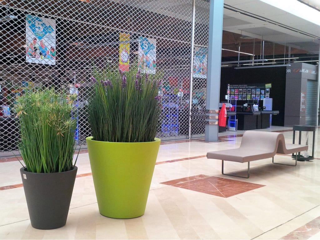 pot coloré pour composition végétale centre commerciale
