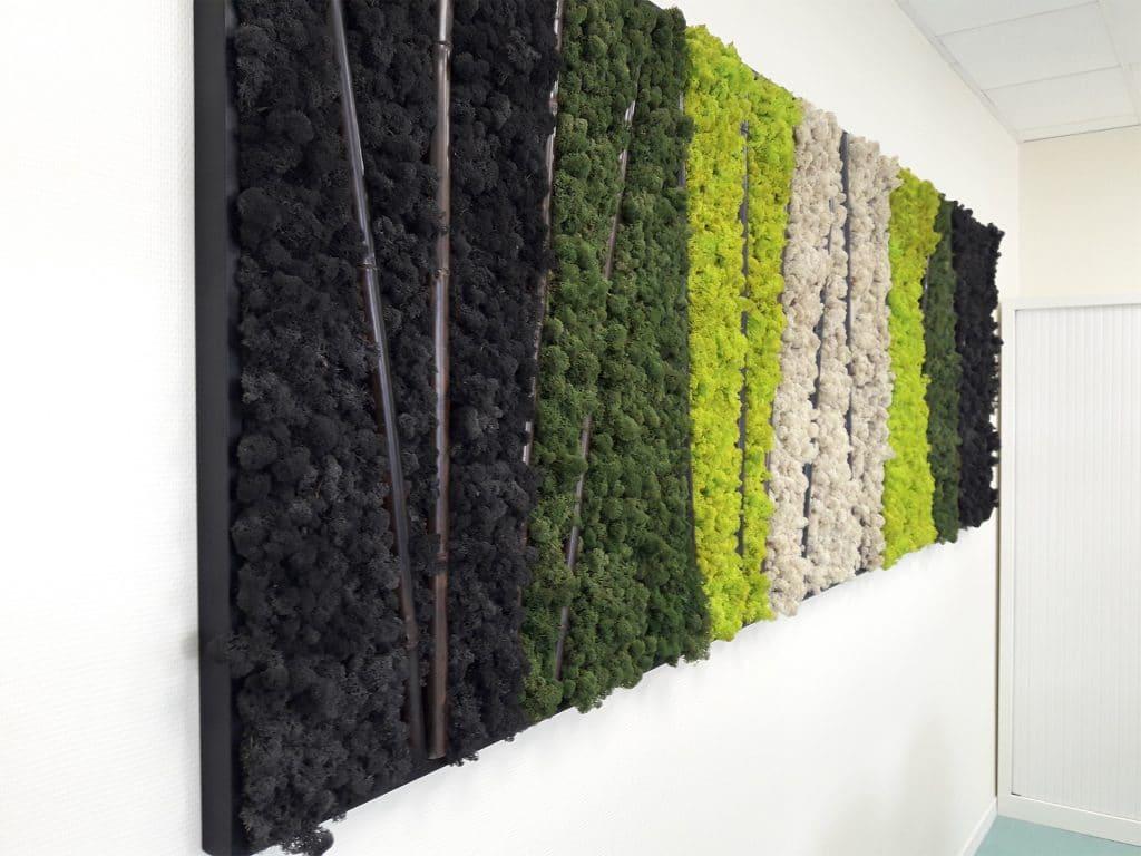 tableau végétal stabilisé mural avec troncons de bambous