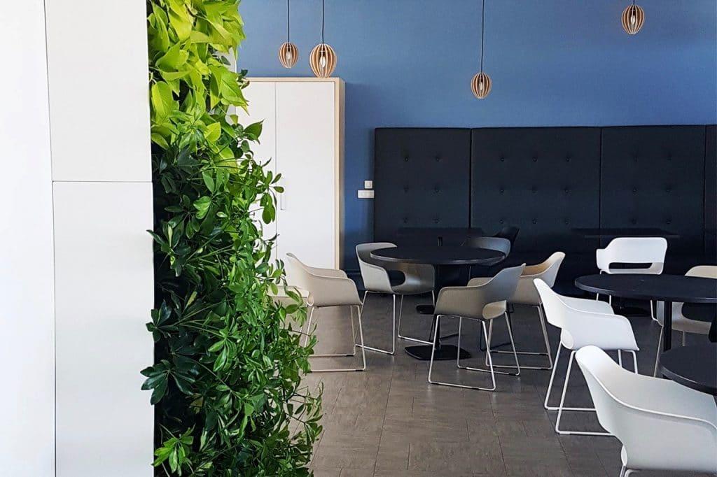 mur végétal cafétéria entreprise