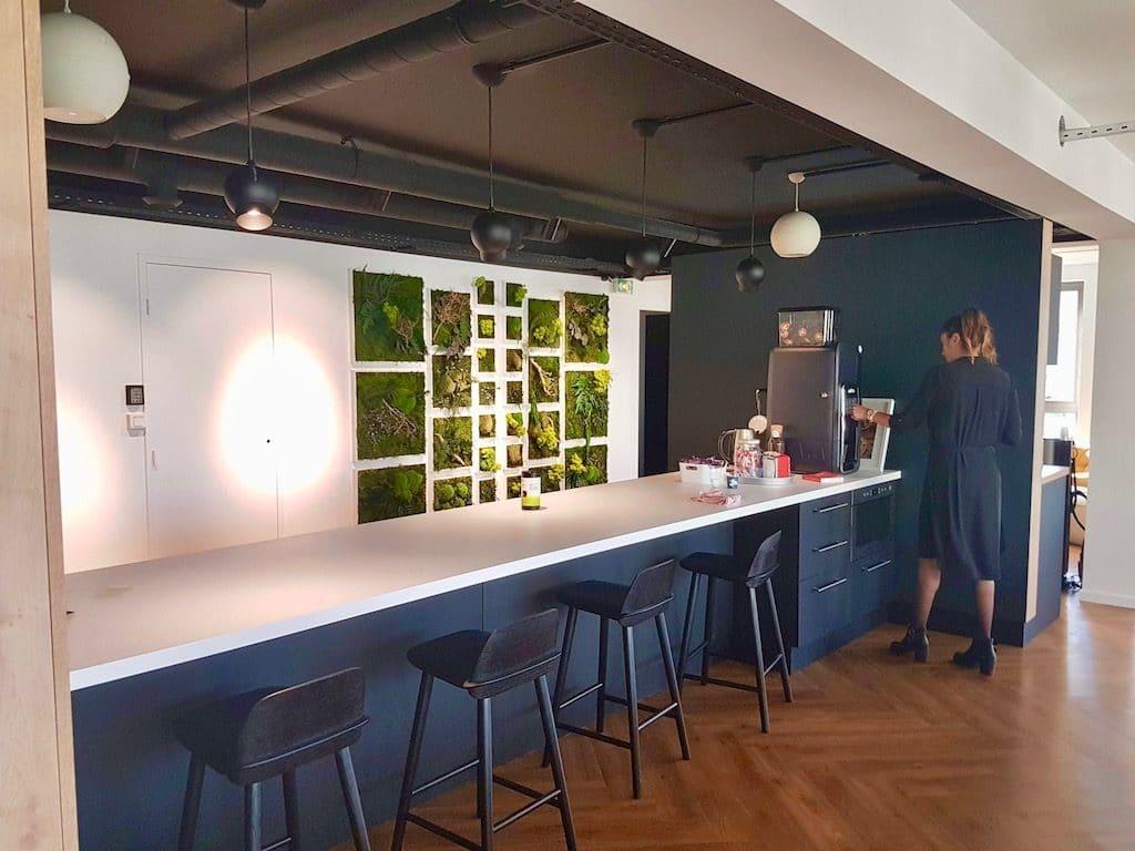 mur végétalisé pour réfectoire d'entreprise